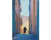 TUSCANY painting, Volterra, Italy street scene, Tuscany Art, Fine Art, Italy painting,Tuscan Wall Art, living room art, Etsy Art, Jan Matson