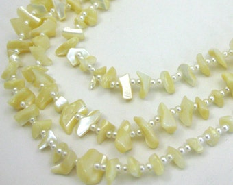 "Vintage Mother of Pearl 52"" Long Iridescent Beaded Lei Necklace"