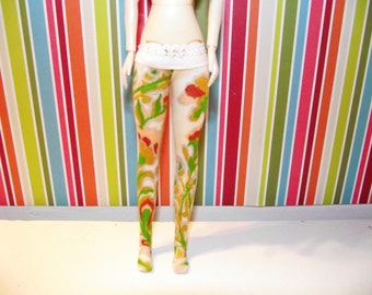 Cream with gold flowered tights leggins for DAL doll