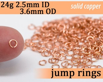 24g 2.5 mm ID 3.6 mm OD copper jump rings -- 24g2.50 open jumprings links