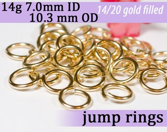 14g 7.0mm ID 10.3mm OD gold filled jump rings -- goldfill jumprings 14k goldfilled 14g7.00