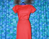 reserved for Moira Vintage 1960's Bright Red Cashmere Go-go Mod Wiggle Dress by Pauline Trigere XS