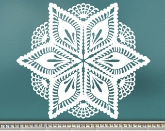 Wall Decal: Pineapple Victorian Crochet Doily Art Design, Romantic Bedroom Decor, DIY Home