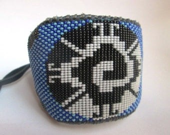 Beaded Mayan Galactic Butterfly on Leather Cuff, Bracelet for Men, Mandala, Cobalt and Light Blue,  Bronze, Custom Fit