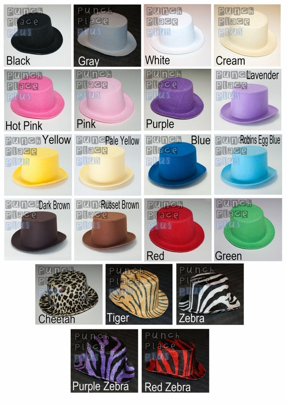 5 Mini Felt Oval Top Hats for DIY Crafting Party Favors