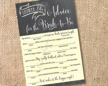 Yellow and Gray Chalkboard Printable Bridal Shower Mad Libs Advice for the Bride-to-Be - INSTANT DOWNLOAD