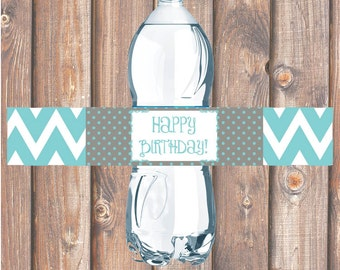 Teal & Gray Chevron Printable Water Bottle Labels for Birthday Party, Bridal Shower, Baby Shower Aqua Water Bottle Labels - INSTANT DOWNLOAD