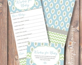 Boho Baby Boy Baby Wishes Cards Blue & Green Ikat Chevron Printable Wishes for Baby Game Moroccan Baby Shower Baby Boy - INSTANT DOWLOAD