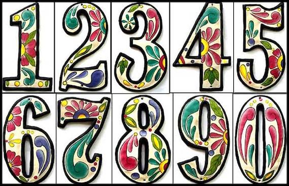 "3 House Numbers - 4 1/2"" Hand Painted Metal Address Numbers, Metal Wall Art, Garden Art, Outdoor Metal Art, Outdoor Wall Decor - AD-100-4W"