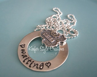 Hand Stamped Adoption waiting China Necklace