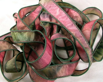 Hand Dyed Silk Ribbons - Hand Painted Jewelry Bracelet Wrap - Quintessence - Rose Garden