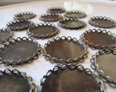 25mm Bezel Tray Settings Double Lace Edge in Bronze Tone, Blank Pad, 6 Pieces, For Glue on Glass Domes Cabochons, Resin Flowers