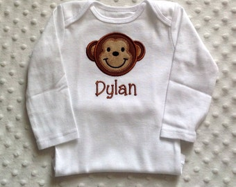 Baby Boy Personalized Bodysuit , Smiling Monkey Applique Design