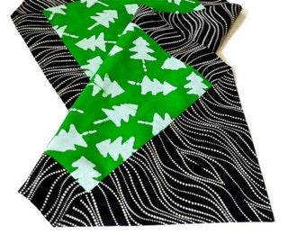 Christmas trees on green batik Table runner black white background