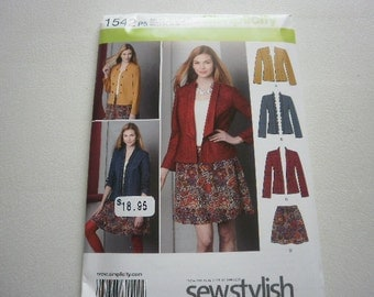Pattern Womens Skirt and Jacket in 3 styles Sz 12 to 20 Simplicity 1542 A