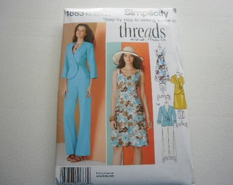 Pattern Ladies Dress Jacket and Pants Sizes 8 to 16 Simplicity 1883