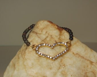 Stretch Gold with Rhinestone Heart Bracelets