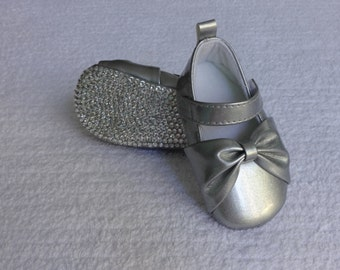 Silver Bow Bling Baby Shoes with ANY COLOR Authentic Crystal Rhinestone