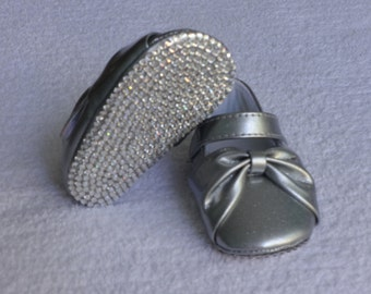 Silver Bow Bling Baby Shoes with Authentic Crystals Size 2 READY TO SHIP Rhinestone Baby Shoe