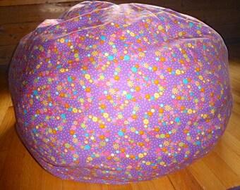 Peace Sign Bean Bag Chair Cover Flowers Hippie Purple Blue Yellow