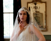 Juliet Cap Veil with Beaded Floral lace, 1930s veil, cathedral length veil, chapel length veil, ivory, white, champagne veil