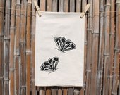 Flour Sack Tea Towel, Dish Towel, Hostess Gift Screenprinted with Tiger Moths in Black Ink
