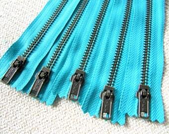 10inch - Turquoise Metal Zipper - Brass Teeth - 5pcs