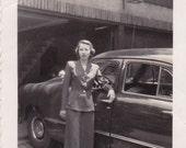 Woman Leaning on Car - Vintage Photograph, Veracular, Ephemera  (G)