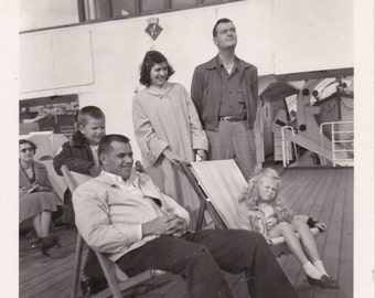 Family on the Ferry - Vintage Photograph (N)