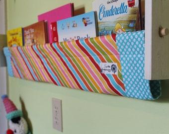 Nursery book storage - Candy stripe pink blue yellow turquoise white orange girl bedroom