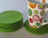 Set of 8 Bright Green Felt Coasters, Industrial Felt Coasters