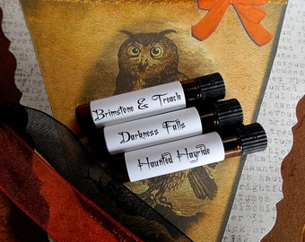 Halloween Perfume set # 3: Sweet and Sinister Sampler, Halloween Perfume, Fall Perfume