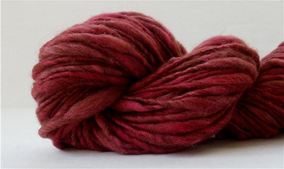 Bulky Alpaca and Wool Yarn Thick and Thin Hand Dyed Handspun 72 Yds ...