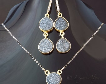 Gold and black grey druzy drusy druse necklace and dangle earrings set