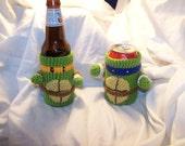 Crochet Teenage Mutant Ninja Turtle beer cozy bottle or can