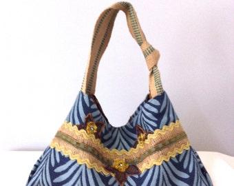 Hobo Bag-Hand Made-Fabric Bag-Knotted Strap-Beaded Embellishment-Hand Made Fleurette-OOAK-