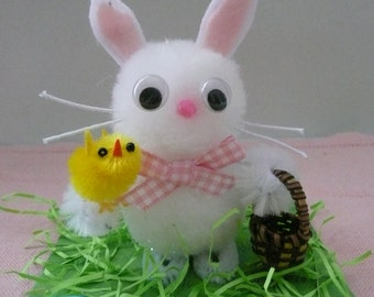 Pom Pom Easter Bunny Decoration with Chenille Chick