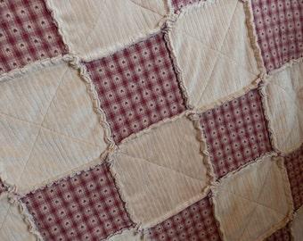 Full Size Rag Quilt, Primitive Country, Red Star Homespun, Minky - Handmade in NJ -