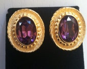 vintage Christian Dior Amethyst Crystal Goldtone Earrings