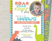 Dinosaur Roar, Stomp, Chomp Custom Double-sided Photo Birthday Invitation (Printable Digital File or Printed)