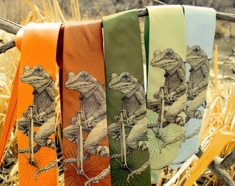 Penny Farthing Frog Necktie - Frog on Bike Mens Necktie - Animal on BIke