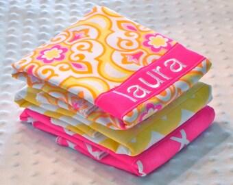 Personalized Burp Cloth Set - Set of 3 Personalized Baby Burp Cloths Baby Girl Fuchsia Pink Yellow Orange Medallions Lattice Chevron