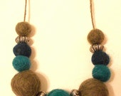 Felt Beaded Necklace, Felt Ball Necklace, Green/teal/blue
