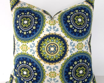 BOTH SIDES - Indoor - Outdoor Suzani Pillow Cover - Blue - Lime Green - Off White and Ivory
