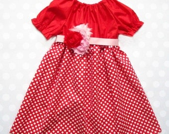 Red and Polka Dot Girls Dress - Valentine's Dress, Girls Valentine's Dress, Valentine's Day - Kids Valentine's Outfit