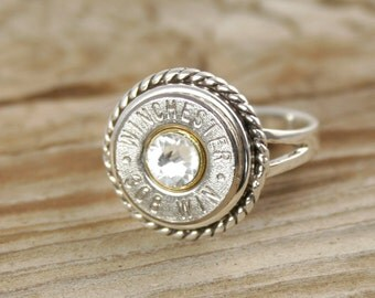 Bullet Ring / Sterling Silver Rope Bullet Ring WIN-#-N/B-ROPR / Sterling Silver Ring / Rope Ring / Rope Bullet Ring / Custom Ring