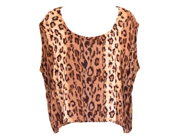 90's Slouchy Cropped Animal Blouse size - S/M