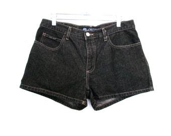 """90's Stonewash Black Denim High Rise Shorts size - M/L - Waist 31"""""""