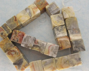 Beautiful Large Crazy Lace Agate Cubic Beads