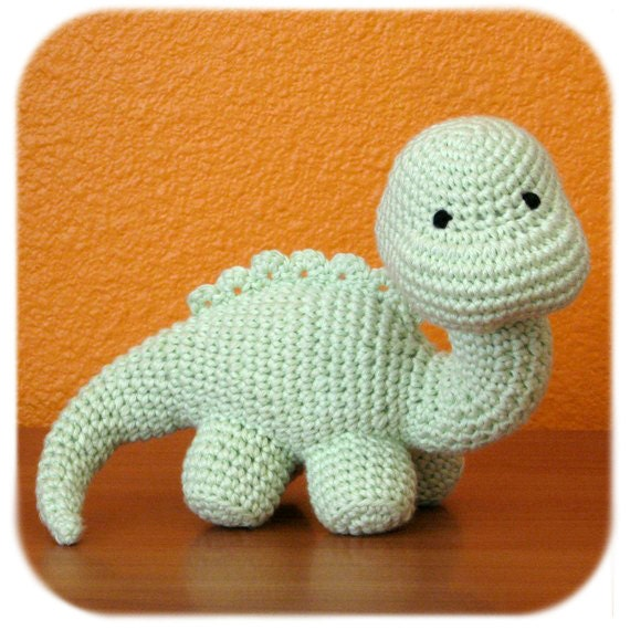 Crochet Dinosaur : dinosaur crochet amigurumi plush in mint green cotton yarn stuffed ...
